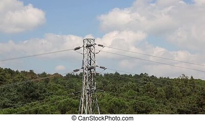 Electric Pylon - Transmission tower and high voltage power...
