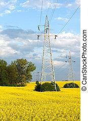 Electric pylons and farmland