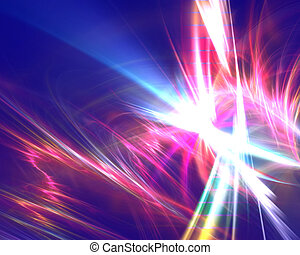 Electric Rainbow Fractal - A glowing electrically charged...