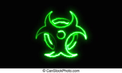 Electric beam draws a radioactive sign on a dark background, computer generated. 3d rendering warning sign