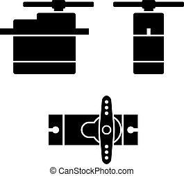 electric rc model servo black symbols - illustration for the web