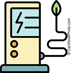 Electric refueling icon. Outline electric refueling vector icon color flat isolated