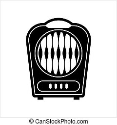 Electric Room Heater Design Vector Art Illustration