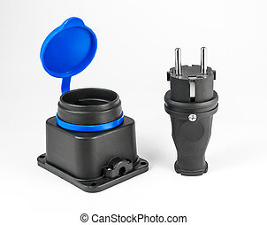Electric rubber plug with socket - Electric rubber plug and...