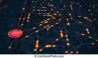 Electric scheme circuit. 4k animation
