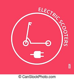 Electric scooters icon on a red background