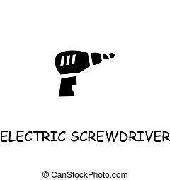 Electric screwdriver flat vector icon
