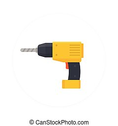 Electric screwdriver icon, flat style