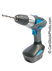 electric screwdriver on white - portarble electric...
