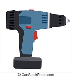 Electric screwdriver, tool, illustration, vector isolated, cartoon style
