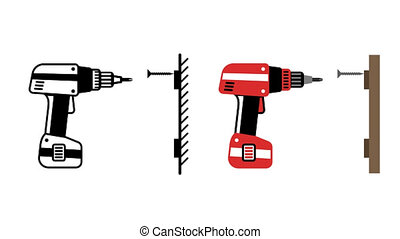 Electric screwdriver twists screw into wall. Animated looped...