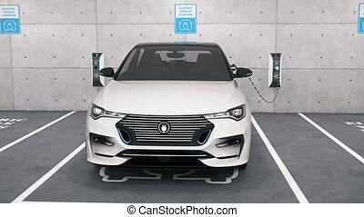 Camera moves around a modern electric self driving car connected to charging station in park garage. Renewable energy and ecological transportation concept. Realistic high quality 3d animation