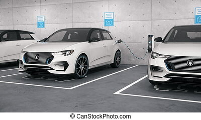 Electric self driving cars connected to charging stations in park garage