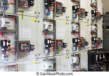 Electric service panel with many switches automatons and...