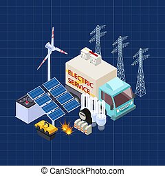 Electric service vector isometric composition with energy safety elements