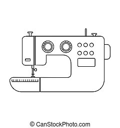 Electric sewing machine. Sewing and equipment single icon in outline style vector symbol stock illustration .