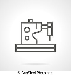 Electric sewing machines black line vector icon