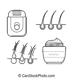 Electric shaver and aftershave cream. - Vector icons set of...