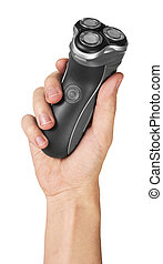 Electric shaver in hand isolated on white background