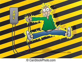 Electric shock - Cartoon man gets an electric shock