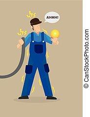 Electric Shock Occupational Hazard Vector Illustration - ...