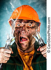 Electric Shock - Electric shock sees a shocked electrician...