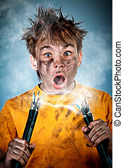 Electric Shock - Electric shock sees a shocked boy