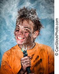 Electric Shock - Boy has a electric shock
