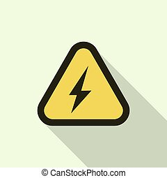 Electric shock yellow sign icon, flat style - Electric shock...