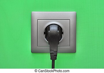 Electric Socket Closeup - Electric outlet with cable ...