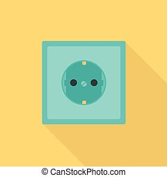 Electric socket icon, flat style