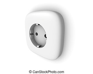 Electric Socket outlet - 3D rendered Illustration.