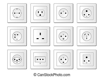 Electric sockets worldwide - An illustration shows all usual...