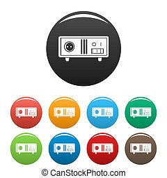 Electric stabilizer icons set 9 color isolated on white for any design