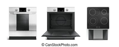 Electric stove, induction cooking panel with oven front and top view. Vector realistic set of kitchen cooker with closed and open oven door, black ceramic stovetop isolated on white background