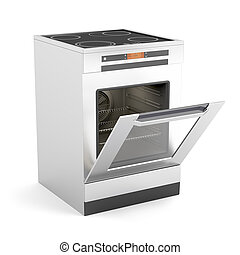 Electric stove - Modern electric stove with opened door on...