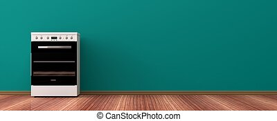 Electric stove on a wooden floor. 3d illustration