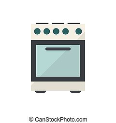 Electric stove with oven on white background. Stock Illustration.