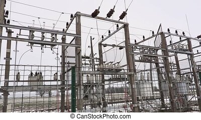Electric substation in winter