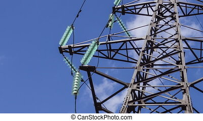 Electric support on a high-voltage substation. Wires with insulation close-up. Electricity transportation. Electricity of the net