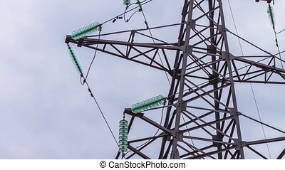 Electric support to power plants. Metal construction. Energy industry for the production and transportation of electricity.