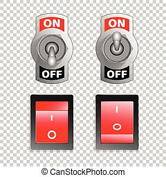 Electric switch buttons, on off position, 3d realistic vector object