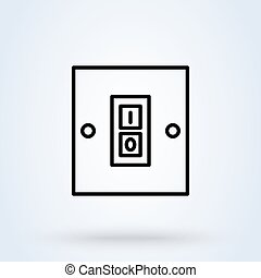 Electric switch. line and linear icon. switch single icon in cartoon style vector symbol stock illustration web.
