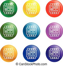 Electric switchboard icons vector 9 color set isolated on white background for any web design