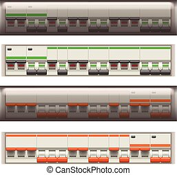 electric switches set - illustration of set electric...