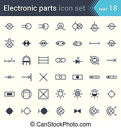 Electric symbols set of lighting