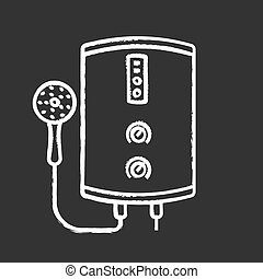 Electric tankless water heater chalk icon. Bathroom heating water. On demand home boiler with shower head. Isolated vector chalkboard illustration
