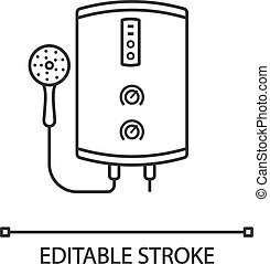 Electric tankless water heater linear icon. Bathroom heating water. Thin line illustration. On demand home boiler with shower head. Contour symbol. Vector isolated outline drawing. Editable stroke