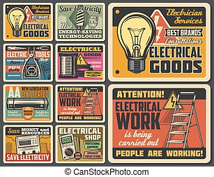 Electric technician service, electrical work tools