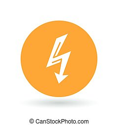 Electric thunderbolt arrow icon. Thunder strike sign. Electrical flash symbol. Vector illustration.